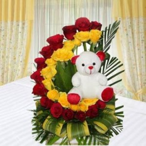 Combo Of Rose Bouquet And Teddy